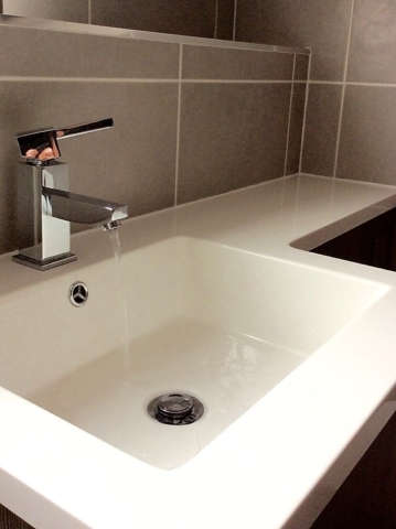 Integrated, all in one, basin, worktop