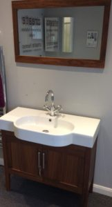 Discounted basin, mirror and tap