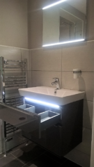 Bathroom basin unit and mirror with LED lights