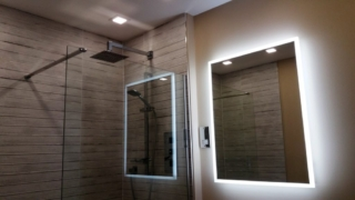Glass panel for shower, Mirror with LED surround