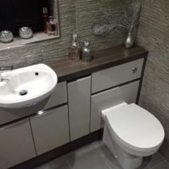 Utopia i-Line storage units, concealed cistern, push button