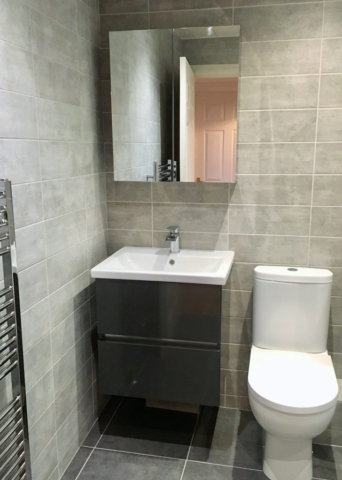 Utopia wall hung basin unit and concrete tiles